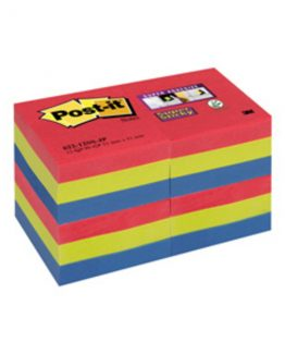 Post-it 62212SSJ Super Sticky Notes 51x51 Jewel Pop (12)