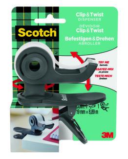 Scotch Clip & Twist grey Tape Dispenser