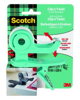 Scotch Clip & Twist bluegreen Tape Dispenser
