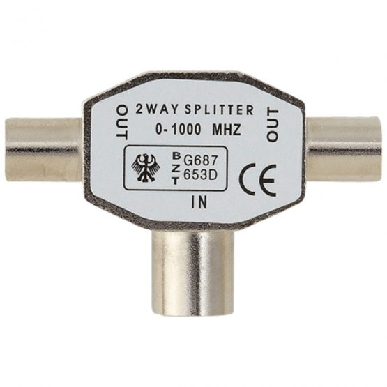 Antenna TV Splitter Coax/2 x Coax F/M, Black