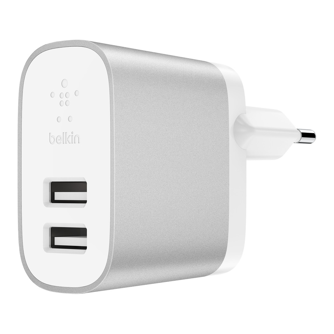 4.8A Dual USB-A Home Charger + Lightning to A Cable, Silver