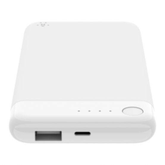 BOOST CHARGE Power Bank 5K w/Lightning + USB, White