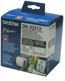Brother labels 62mmx15,24m white film