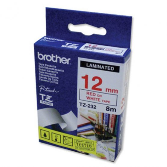 Brother TZe tape 12mmx8m red/white