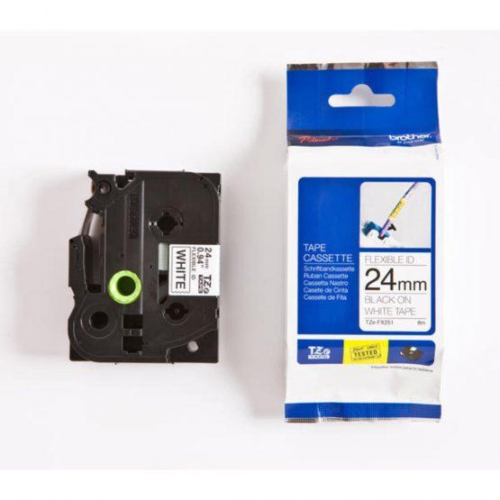 TZe tape 24mmx8m flexible black/white