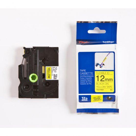 TZe tape 12mmx8m flexible black/yellow