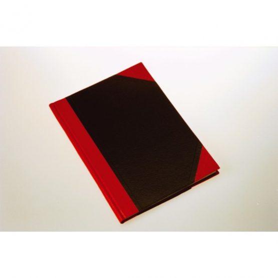 Notebook hardback black & red A7