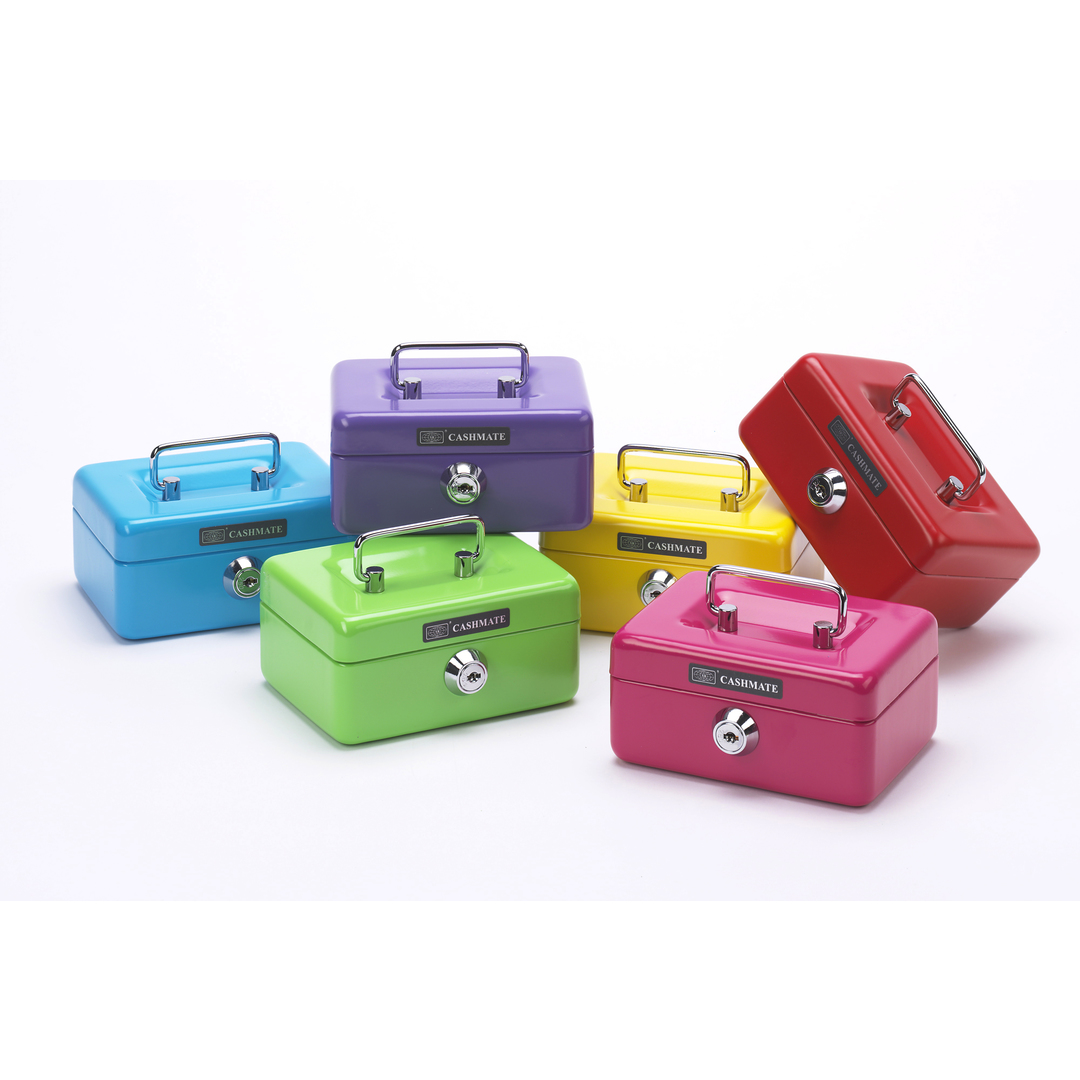Cashbox assorted colours small with coin slot