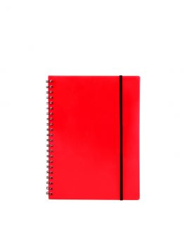 Spiral notepad A5 PP transp red