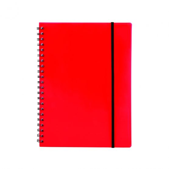 Spiral notepad A4 PP transp red