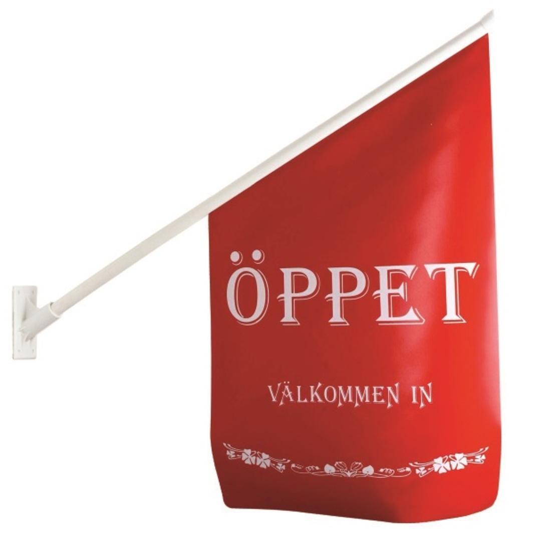 Flag ÖPPET red/white text