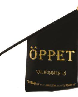 Flag ÖPPET black/text gold