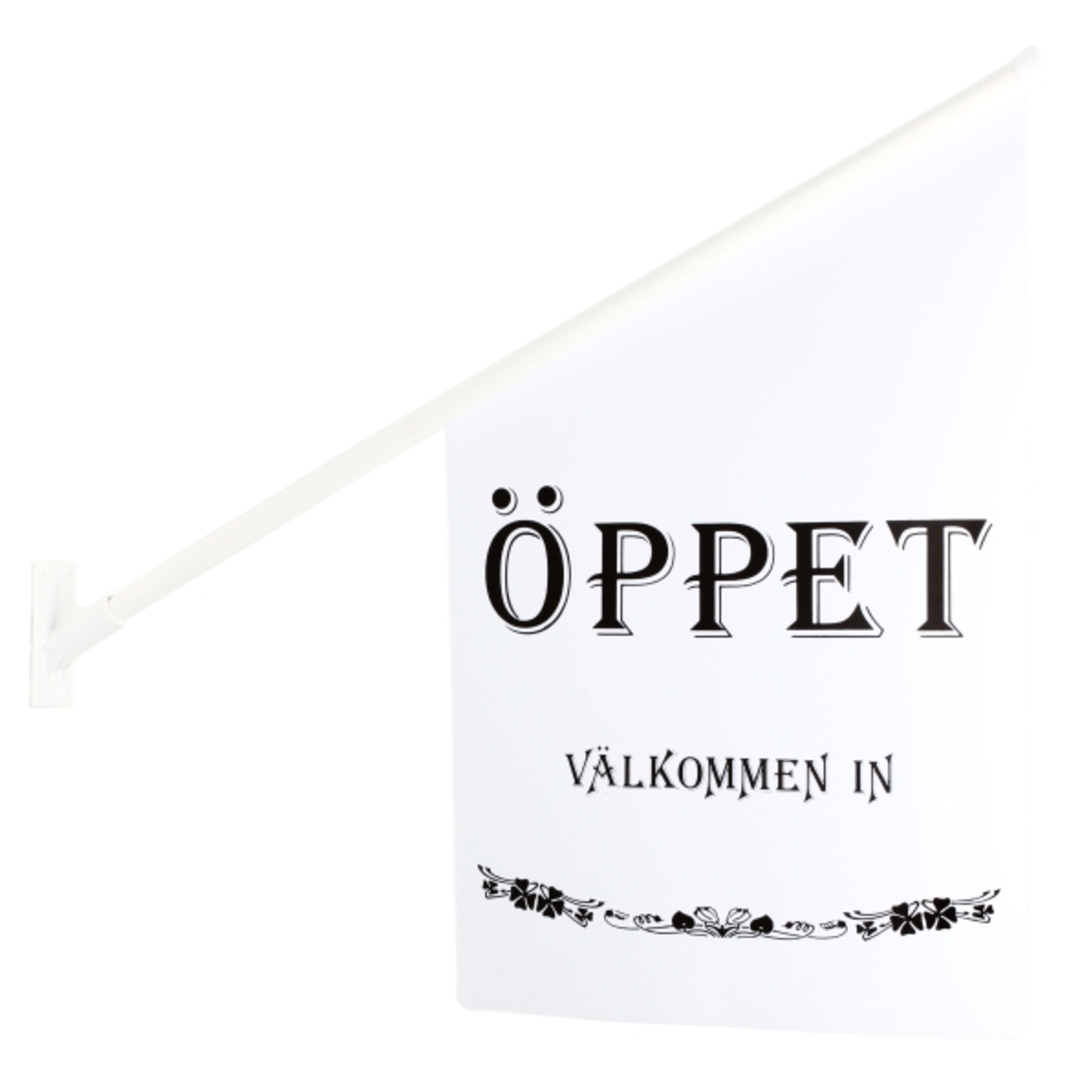Flag ÖPPET white/black text