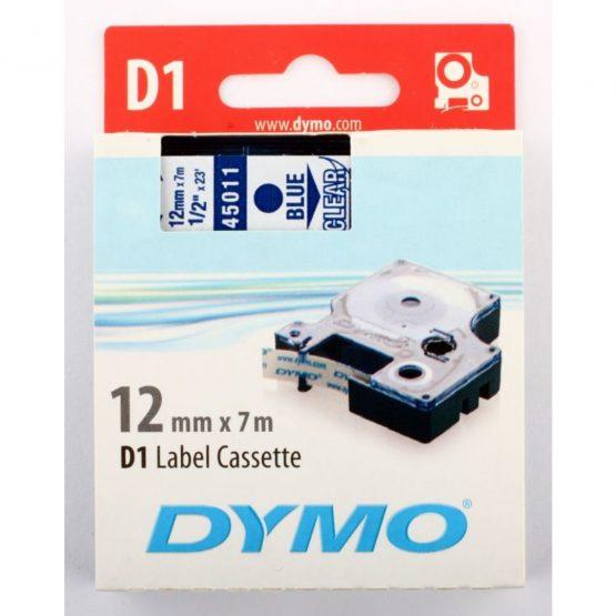 Tape D1 12mmX7m blue/trans
