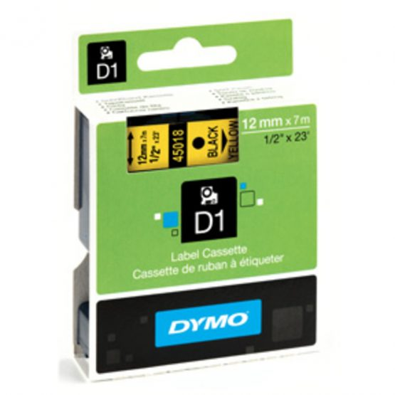 Tape D1 12mmx7m black/yellow