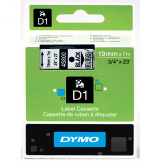 Tape D1 19mmx7m black/clear
