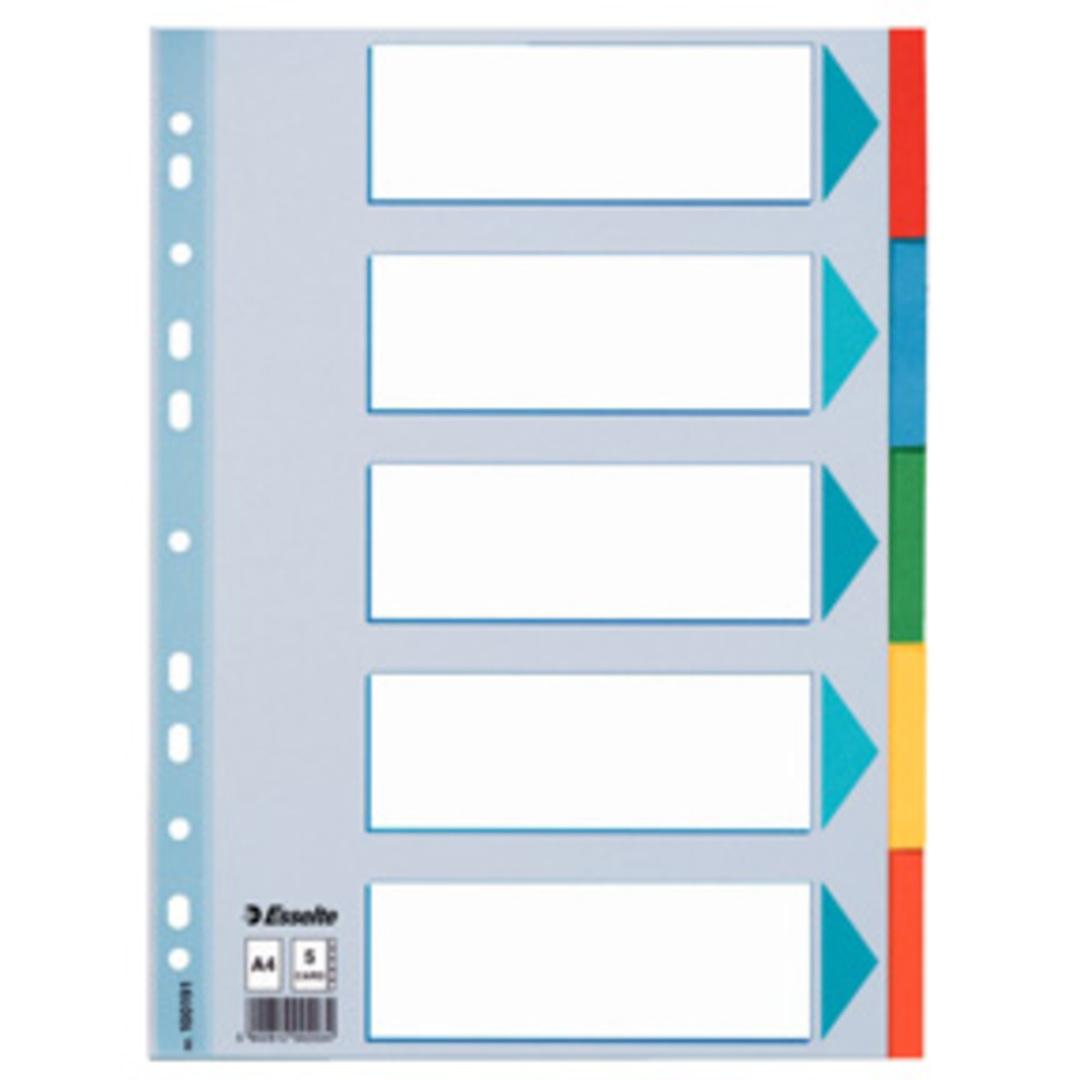Divider A4 5 tabs multicolour