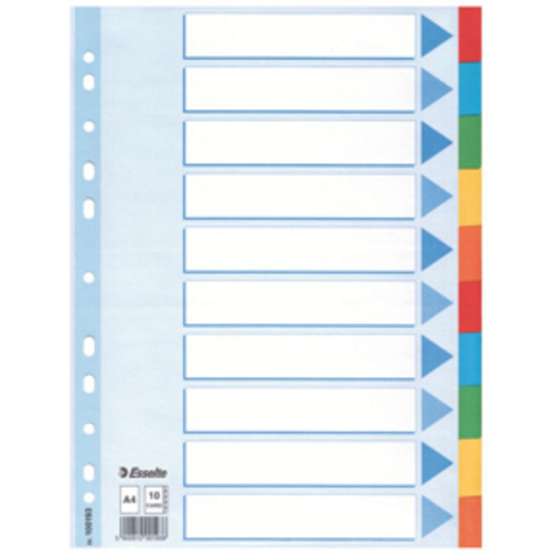 Divider A4 10 tabs multicolour