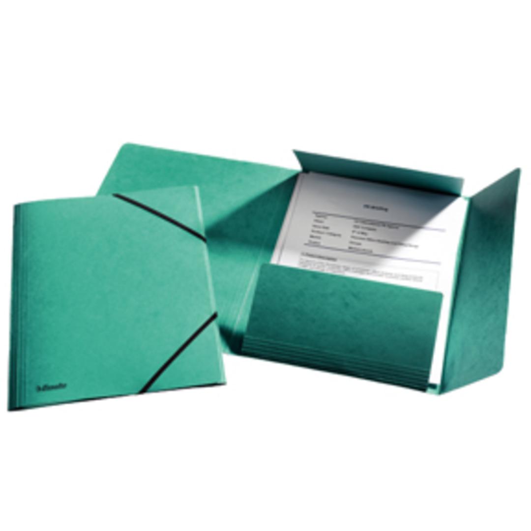 3-flap Folder w/elastic  A4 green