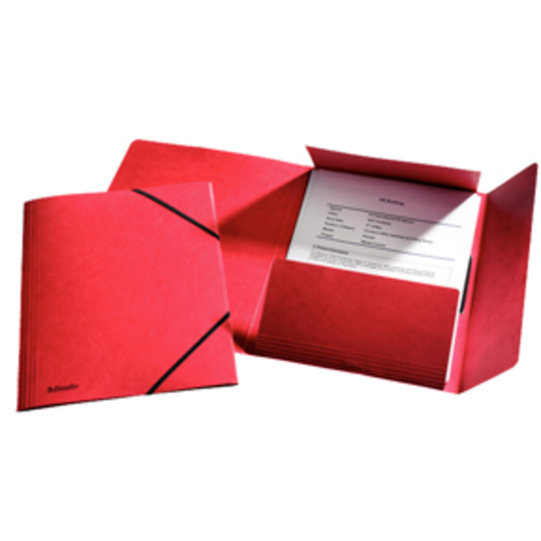 3-flap Folder w/elastic  A4 red