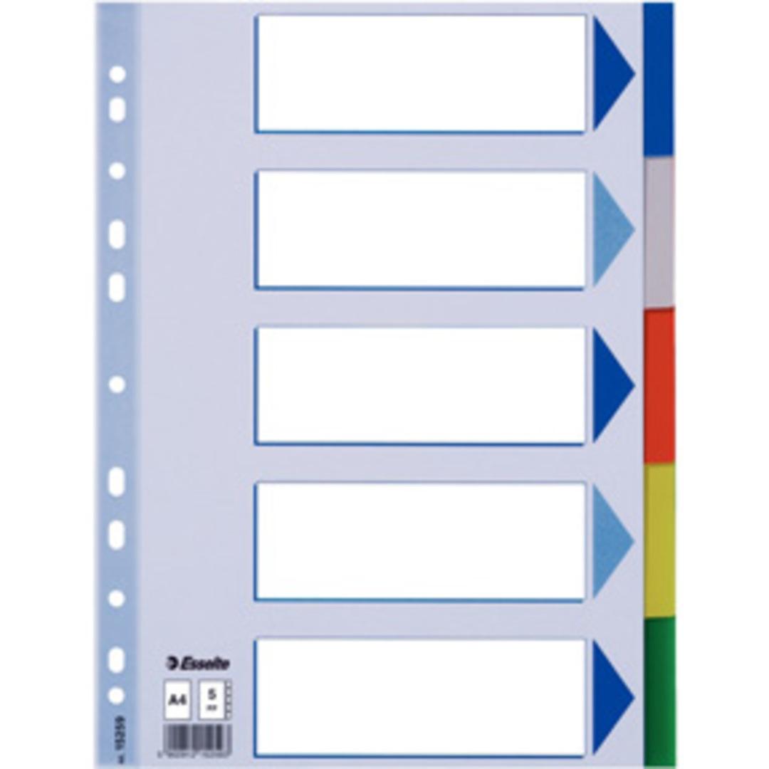 Divider PP A4 5 tabs multicolour