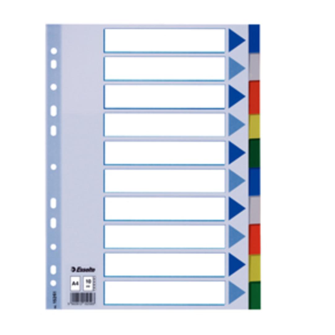 Divider PP A4 10 tabs multicolour