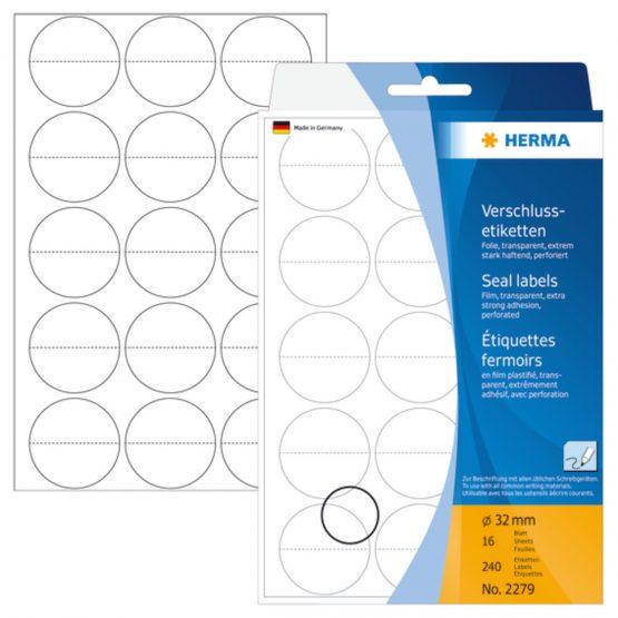 Herma label manual Seal perforated ø32 transparent (240)