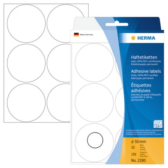Herma label manual ø50 white (192)