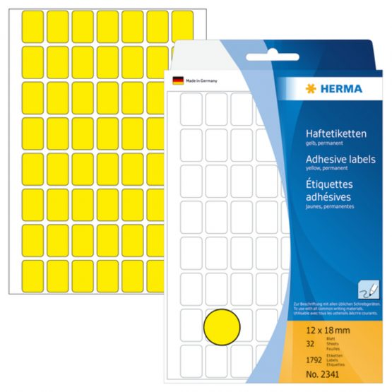 Herma label manual 12x18 yellow (1792