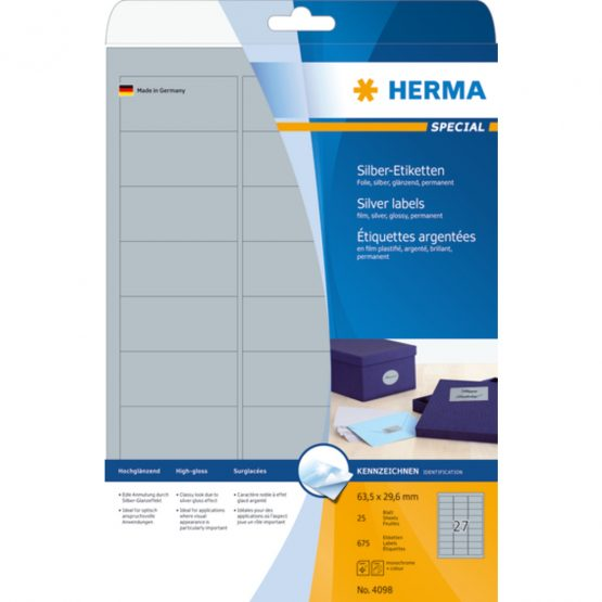 Herma label film 63,5x29,6 silver glossy (675)