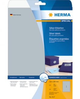 Herma label film 210x297 silver glossy (25)