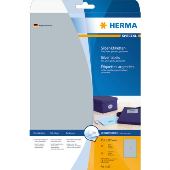 Herma label film 210x297 silver glossy (25)