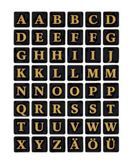 Herma label letters A-Z 13x13 gold/black
