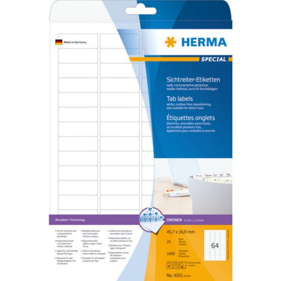 Herma label removable suspension file 45,7x16,9 (1600)