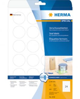 Herma label film extremely strong ø40 transp (600)