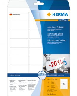 Herma label removable 63,5x29,6 (675)