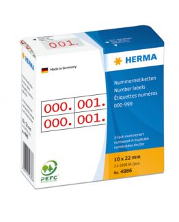 Herma label number 0-999 double 10x22 red (2x1000)