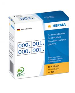 Herma label number 0-999 double 10x22 blue (2x1000)