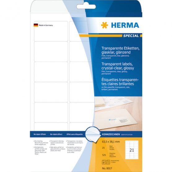 Herma label film 63,5x38,1 transp glossy (525)