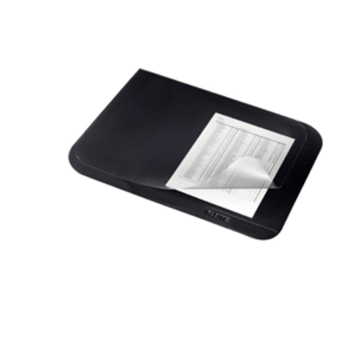 Deskmat 40x53 black w.clear plast.