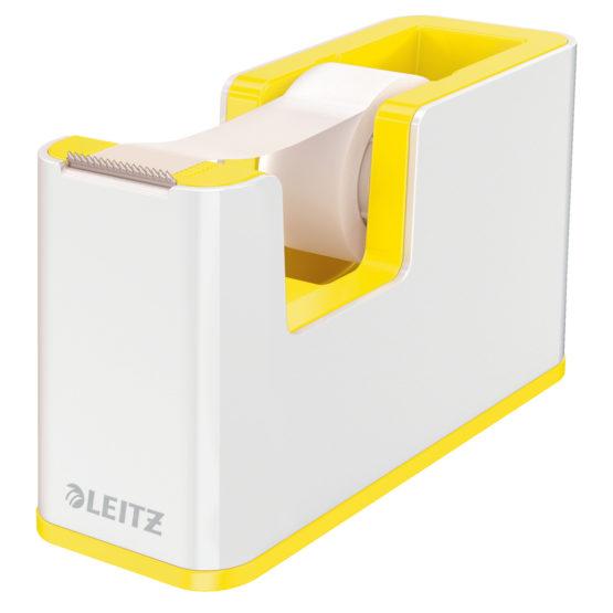Tape dispenser w/tape WOW white/yellow