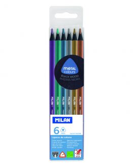 Milan black wood metallic pencils (6)