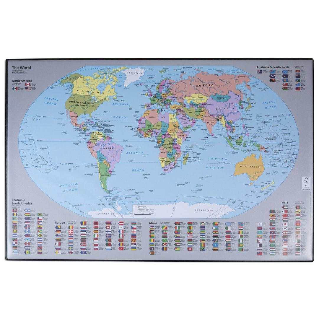 Desk mat Världskarta 59x39