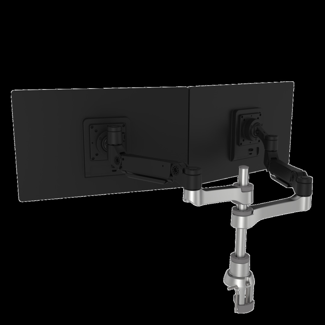 R-GO Caparo D2 circular dual monitor arm desk mount, gas lif