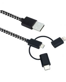 3in1 Lightning+MicroUSB+USB-C, Black (1m)