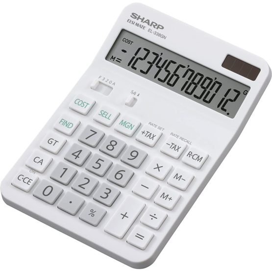 Sharp SH-EL338GN Desktop Calculator, White