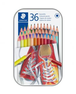 Coloured pencil hexagonal in metal boks (36)