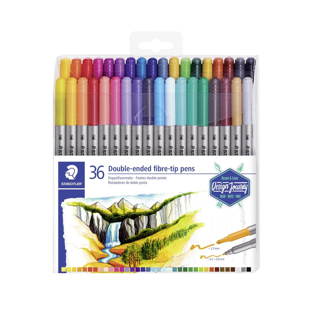 Double-ended fibre tip pens (36)