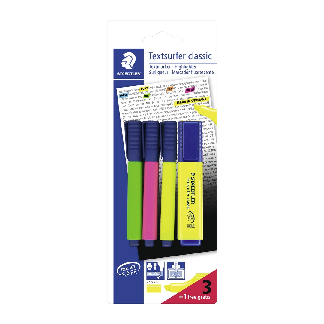 Highlighter Textsurfer 3+1 ass blister (4)