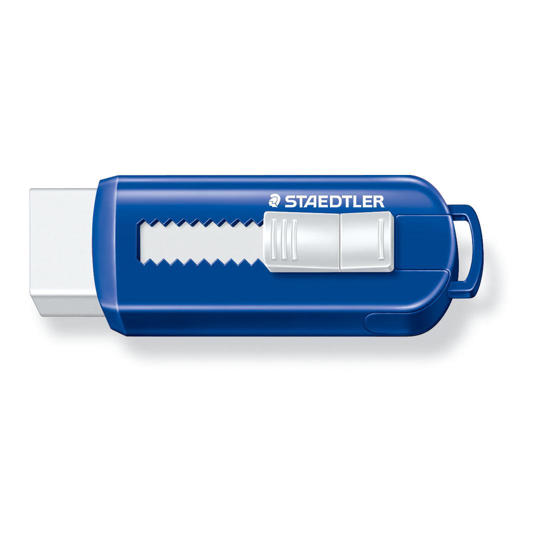 Eraser PVC-free w/sliding plastic sleeve blue/white